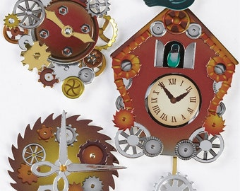 Jolees Boutique 3D Stickers for Scrapbooking, Cardmaking,  Steampunk  Coo Coo Clocks