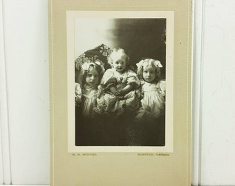 Three Sisters With Bows Photograph, Victorian Cabinet Card Style Portrait from Burrton Kansas
