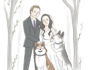 Custom Cartoon Portrait Couple (Cute soft style) -  Anniversary gift, Custom portrait illustration, Wedding portrait gift, pet portrait