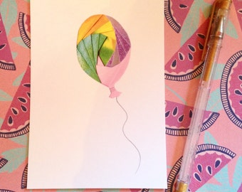 Colourful Balloon - postcard print of original iris folded artwork - measures 6x4 / 15x10