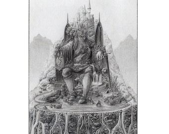 Oaths, Burdens, and Curses - Framed Original Medieval Gothic Fantasy Graphite Drawing - Castle Throne King Lord