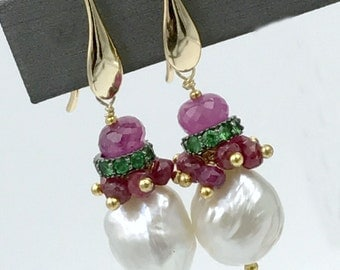 Tsavorite Garnet Pearl Earring Ivory Freshwater Pearl Ruby Cluster Wire Wrap Earring Pearl Pink Sapphire Black Tie Holiday January Birthday