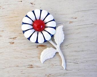 Red White Blue Enamel Flower Brooch | Enamel Flower Pin | Vintage Jewelry | Daisy Pin | Vintage Flower Pin | Enamel Jewelry