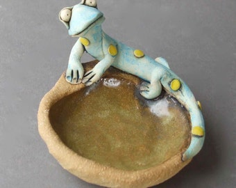 Spotted Lizard or Salamander Ceramic Dish Sculpture