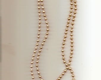 """Vintage Faux Pearl Glass Bead Disc Strand Necklace 44"""""""