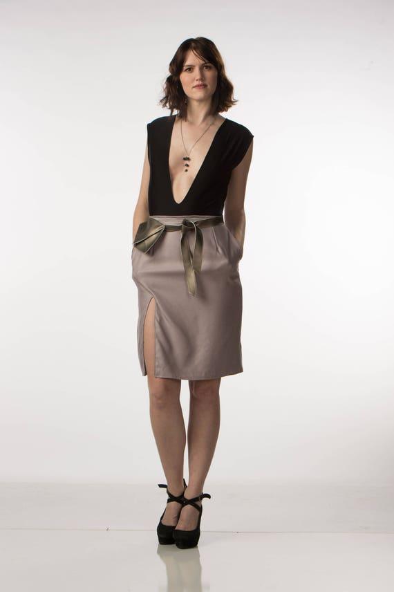 Deep V Neck Bodysuit Black Jersey Knit Plunging Neckline Festival Fashion Extra Small Small
