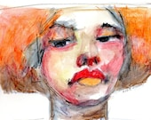 Watercolor Portrait, Watercolor Woman, Red Lips, Wall Art, Figurative Art, Watercolor Art, Red and Orange, Free Shipping, Original Face