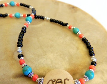 Friendship Necklace, Best Friend Jewelry, Cherokee Language, Handcrafted Jewelry, Turquoise and Red, Seed Bead Necklace