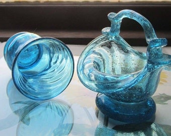 Blown Glass Trinkets * Basket and Cup * Aqua Glass * Gifts and Vanity Display *
