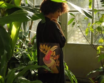 Leather Tote Bag / Laptop bag / Shopper - Metallic Gold Paradise Birds Print with Toucan & Cockatoo