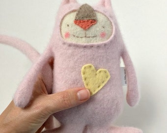 Small Baby Pink Stuffed Animal Cat Upcycled Sweater Repurposed
