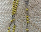 Vintage pocket size Yellow Glass Bead Rosary WWII Era Small Rosary, Prayer Beads