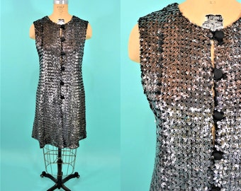 1960s sequin dress | silver sequined coverlet party dress | vintage 60s dress | W 36""