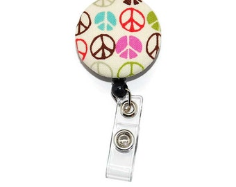 Peace Sign Badge Reel   -  Fabric Button Retractable ID Holder Choice of Clip