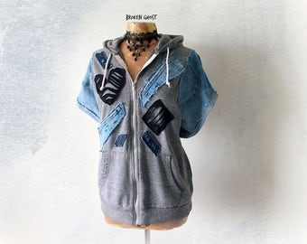 Rustic Hooded Jacket 90's Grunge Hoodie Women's Art Clothing Frayed Distressed Upcycle Denim Grey Zipper Hoodie Cozy Sweatshirt L XL 'SIMONE