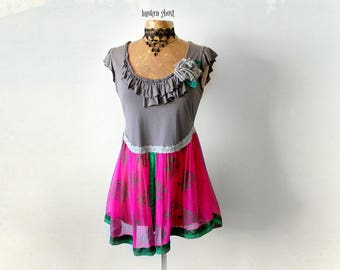 Romantic Blouse Boho Chic Shirt Ruffle Collar Peplum Fit Flare Hot Pink Silk Sari Upcycle Gypsy Top Bohemian Clothing Low Neckline M 'JOSIE'