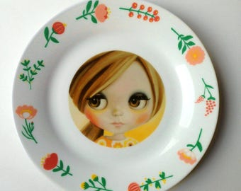Blythe Doll Plate Altered Art - pop art wall hanging plate