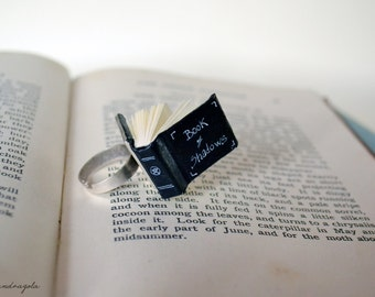 Book of Shadows Miniature Ring. Black book of spells,  silver ring with white pentacle