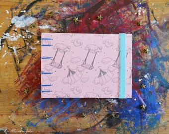 Night Circus Travel Sketchbook /  A6 Hand Bound Coptic Book / pale pink and light blue journal