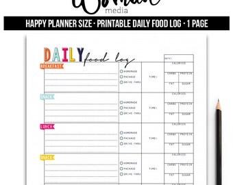 Daily Food Log, Planner Insert, Happy Planner Insert, Printable Planner Insert, Printable Happy Planner Insert