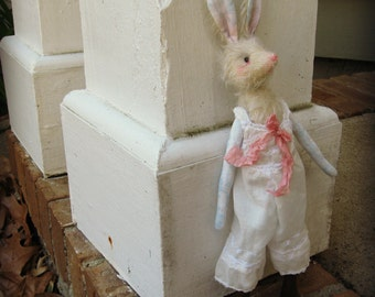 """Rabbit Art Doll - """"Helen"""" -  Vintage Styled 10"""" Mohair and Cotton Soft Bunny Rabbit Doll - Fit Blythe Dresses"""