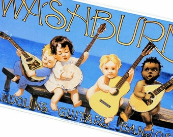 Vintage Metal Sign / Ande Rooney / Porcelain Enameled Advertising Sign / Washburn Mandolins Guitars Banjos / Steel Sign / Home Decor Blue