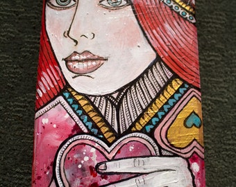 Original Queen of Hearts Valentine Painting by Artist Lynnette Shelley