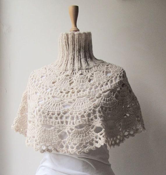 Knitting Pattern Turtleneck Capelet : Crochet Capelet Turtleneck Neckwarmer Hand by crochetbutterfly