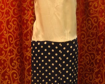 "1930's, 36"" bust, 2 piece rayon crepe dress, of navy blue with white polka dots."