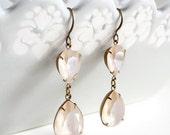Swarovski Crystal Ivory Cream Rhinestone Earrings Teardrop Pear Old Hollywood
