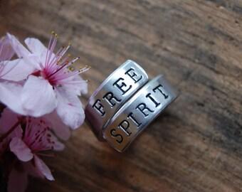 Free Spirit. Silver Hand Stamped Wrap Ring. Free Spirit. Move Mountains. Just Breathe. Silver wrap ring. Custom sayings.
