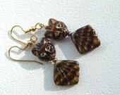 Egyptian Revival Bastet Goddess Cat Brown Agate Glass Power Earrings