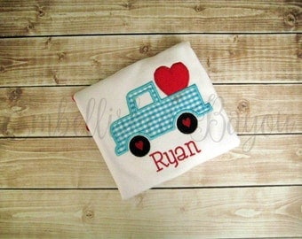 Valentine's Day Truck with Heart Appliqued T-shirt for Boys or Girls