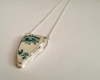 Scottish Sea Pottery , Green Floral Necklace, Green Sea Pottery in Sterling Silver - Sea Pottery Collection