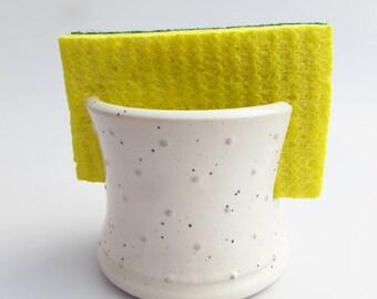 Handmade Pottery Single Sponge Holder in Gray Dot