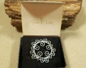 Vintage Sarah Coventry Silvery Mist #6407 Filligree Brooch w/Orig Box, Signed & Excellent Estate Jewelry