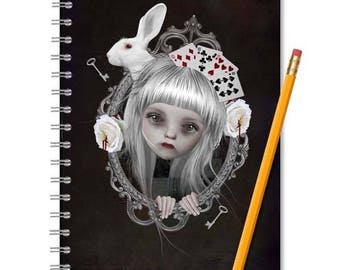 Alice In Wonderland Notebook - Fairytale Journal - Spiral Notebook - LINED OR BLANK pages, You Choose