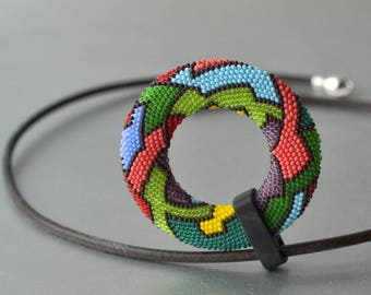 Parrot - OOAK Mandala beaded Pendant  by DONAULUFT