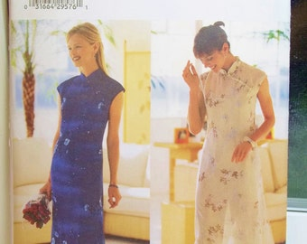 Misses' Mandarin Collar Dress, Butterick 6057 Sewing Pattern A-line Fitted Dress with Side Slits and Cap Sleeves, Tapered Pants Size 8 - 12