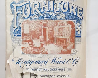 Vintage 1897 Montgomery Ward Furniture Catalog, Parlor Furniture Catologue A, Library Reference Copy, Paper Ephemera  B & W Photos Softcover