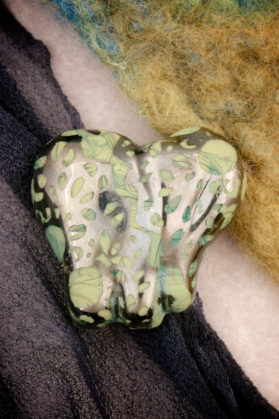 "SRA Lampwork Beads ~ Cute Elephants ""Lacy"" Sandblasted Glass and Platinum Lustre Focal Handmade Elephant Bead"