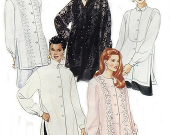 Loose Fitting Stylish Tunic Sewing Pattern, Uncut McCalls 7408, Collar Variations, Side Slits, Long Sleeves, Misses Sizes 6 to 14