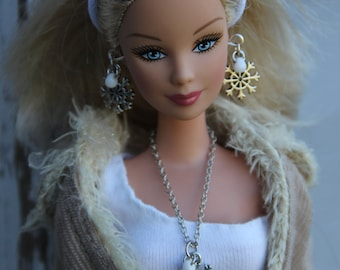 """Winter Snowflakes Doll Jewelry Set fits 11 1/2"""" - 12 inch 1/6th Scale Fashion Dolls & 17"""" High Dolls"""