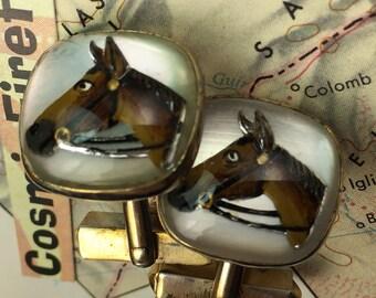 Men's Vintage Cufflinks Antique Gold Plated Horse Cufflinks Made In USA SWANK Brand Cufflinks Steampunk Cufflinks
