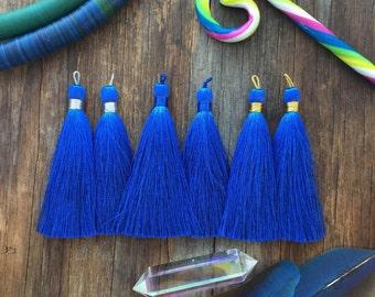 "Lapis Lazuli Blue,  3"" Luxe Silk Tassels, Handmade Jewelry Tassels, Long Tassels, Designer Jewelry Supplies / Choose Binding Finish, 2pcs"