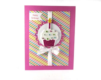 Cupcake birthday card, happy birthday card, girls birthday, glittered cupcake, handmade cupcake card