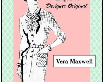 Vintage 1957-VERA MAXWELL ORIGINAL-Spadea Designer Sewing Pattern-Tailored Bow Dress-Two Styles-Size 18-Rare-Collectible