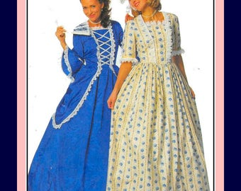 Vintage 1995-LOVELY HISTORICAL GOWNS-Costume Sewing Pattern-Four Styles-17th-19th Century-Lace-Ribbon Trims-Bonnet-Cap-Uncut-Size 10-14-Rare