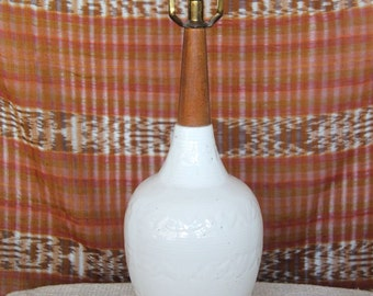 the rustic minimalist -- simple and beautiful 70s ivory ceramic and wood lamp