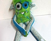 Handmade Monster Plush - OOAK Plush Monster Toy - Hand Embroidered Stuffed Monster - Green & Turquoise Faux Fur Monster - Cute Weird Plush
